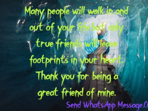 Many people will walk in and out of your life,but only true friends will leave footprints in your heart. Thank you for being a great friend of mine